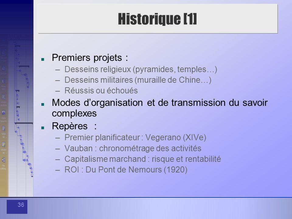 Historique [1] Premiers projets :